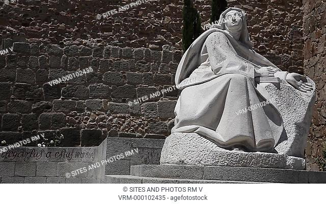 Statue Of Saint Teresa near Alcazar Gate Puerta del Alcazar. Avila (Avila de los Caballeros), Spain