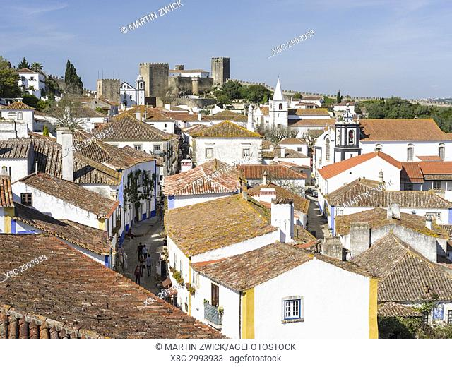 View over town. Historic small town Obidos with a medieval old town, a tourist attraction north of Lisboa Europe, Southern Europe, Portugal