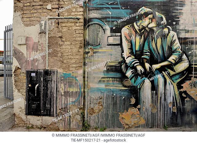 Street art in the Pigneto district, Fanfulla da Lodi street, murale by Alice Pasquini , Rome, ITALY-15-02-2017
