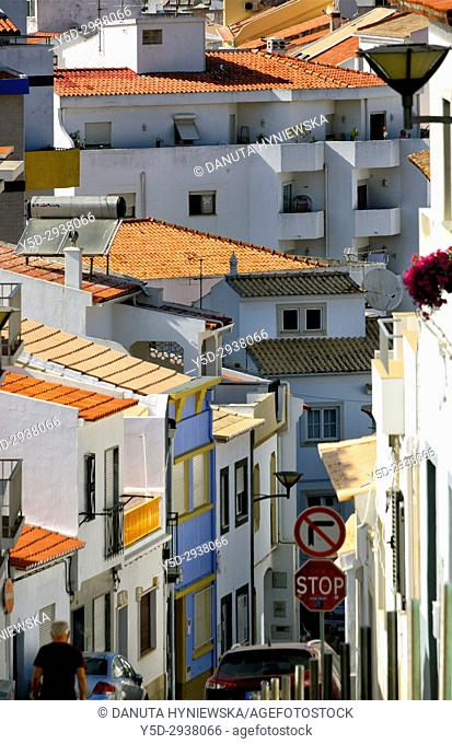 view for historic part of Lagos from Rua 5 de Outubro, Lagos, Algarve, Portugal, Europe