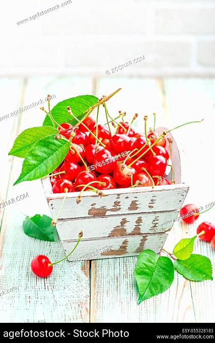 Sweet cherry on white background closeup