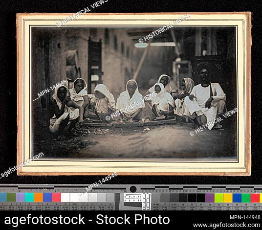 [Women Grinding Paint, Calcutta]. Artist: Unknown; Date: ca. 1845; Medium: Daguerreotype; Dimensions: Image: 9.4 x 14.4 cm (3 11/16 x 5 11/16 in