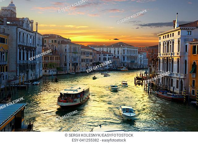 Grand Canal in Venice at the sunset, Italy