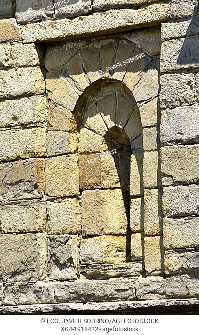 Window in the Mozarabic - Romanesque church San Pedro de Lárrede - Serrablo - Alto Gallego - Huesca Province - Aragon - Aragon Pyrenees - Spain - Europe