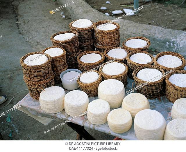 Selling cheeses, Molise, Italy