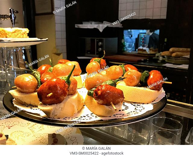 Traditional pintxos. Basque Country, Spain