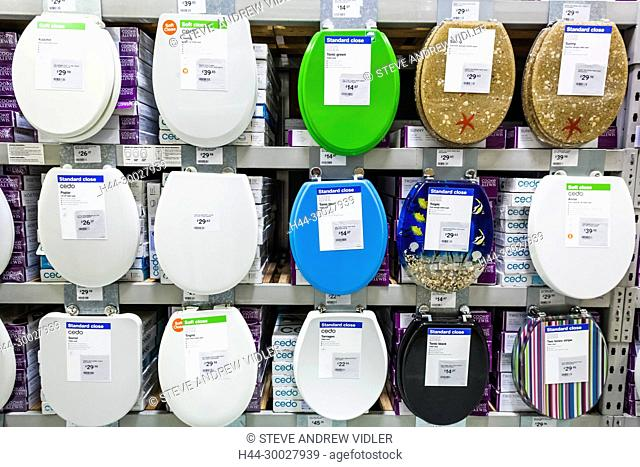 England, London, DIY Store Display of Toilet Seats