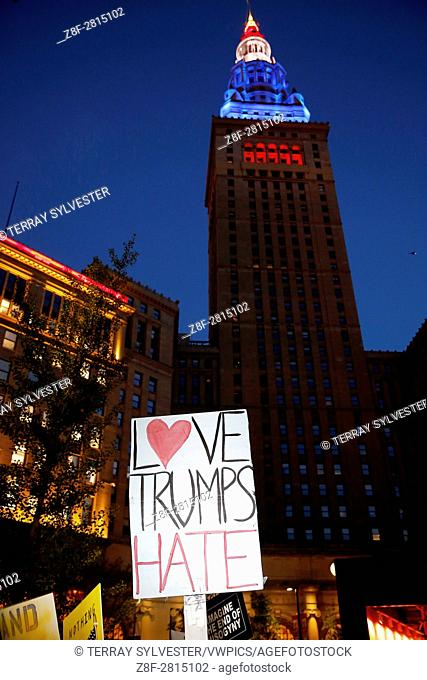 A protest sign is seen outside of the Republican National Convention on July 21, 2016. Cleveland, Ohio, United States