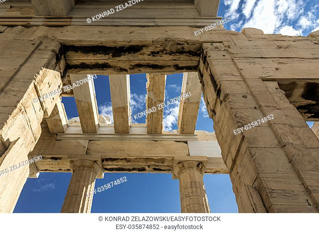 Monumental gateway called Propylaea, entrance to the top of Acropolis of Athens city, Greece