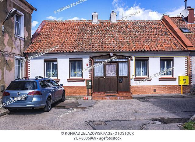 Complex of 19th century tenement houses on Florianska Street in Biskupiec city in Olsztyn County, Warmian-Masurian Voivodeship of Poland