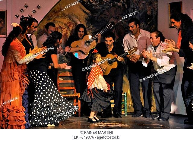 Girl dancing flamenco, flamenco, Los Gallos, Sevilla, Province Sevilla, Andalusia, Spain, Mediterranean Countries