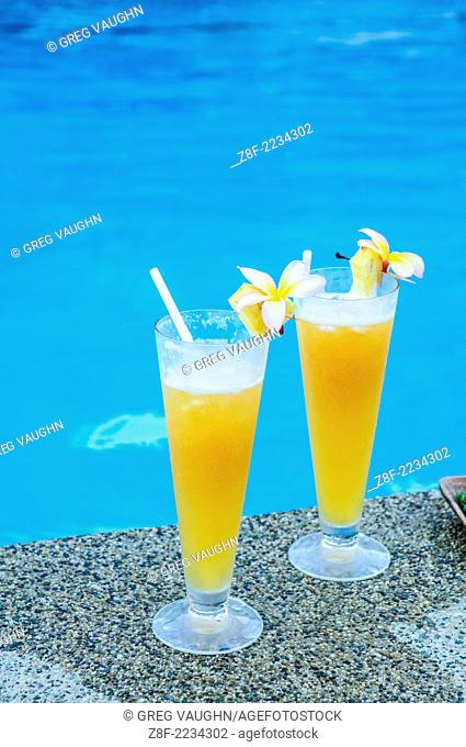 Poolside tropical drinks at Matangi Private Island Resort, Fiji