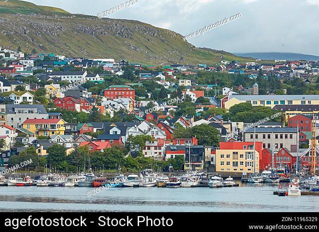 TORSHAVN, FAROE ISLANDS, DENMARK - AUGUST 21, 2018: View of the downtown of Torshavn, the capital town of Faroe Islands, Denmark