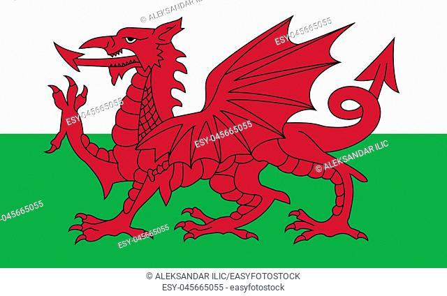 Wales National Flag 3D illustration