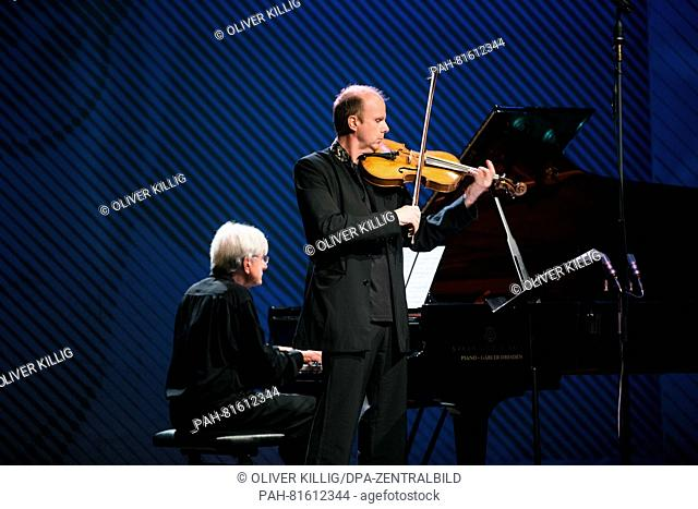 Pianist PeterRoesel (L)and violist Thomas Selditz perform during the International Shostakovich Days in Gohrisch, Germany, 25 June 2016