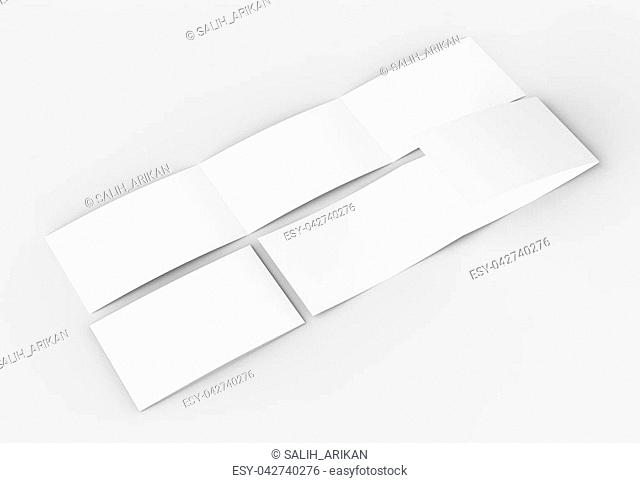 Template of blank three fold, horizontal - landscape brochure mock up isolated on soft gray background. 3D illustrating