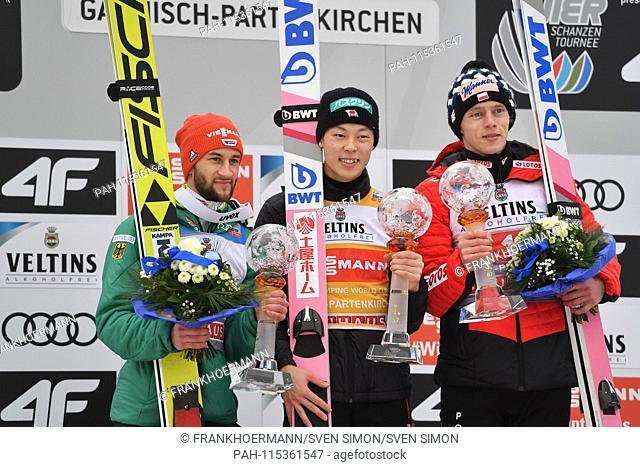 from left: Markus EISENBICHLER (GER), Ryoyu KOBAYASHI (JPN), Dawid KUBACKI (POL). Award ceremony, ski jumping, 67th International Four Hills Tournament 2018/19