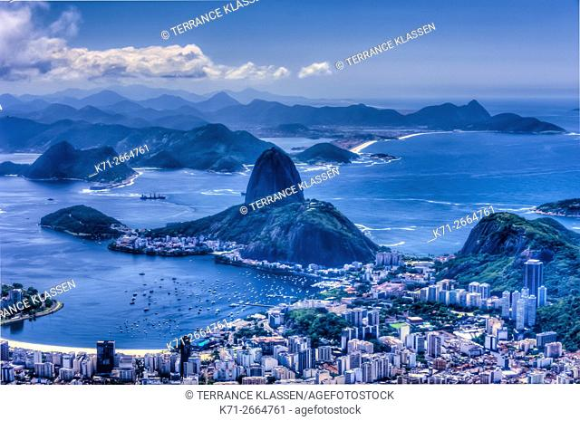 View of Sugarloaf Mountain and the Rio De Janeiro skyline from Corcovado, Brazil