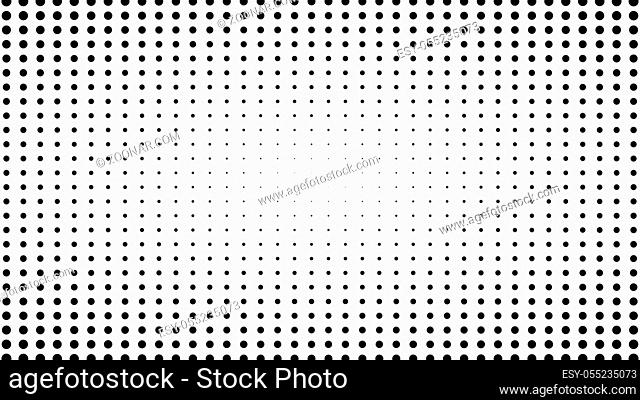 Dynamic black and white composition. Halftone element. 3d rendering
