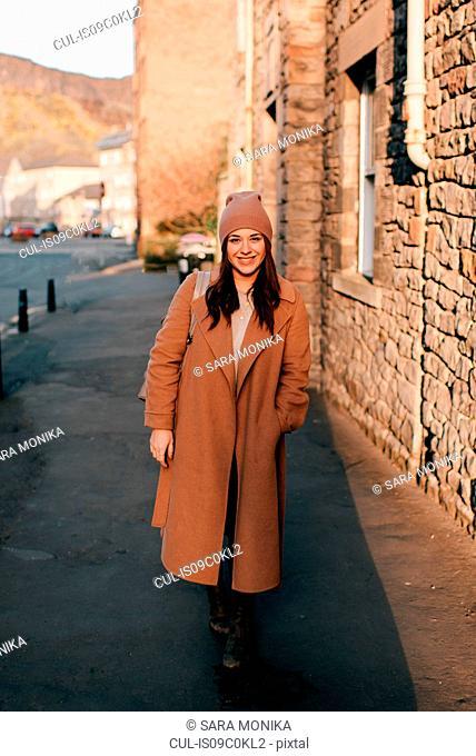 Portrait of woman on street, Edinburgh, Scotland