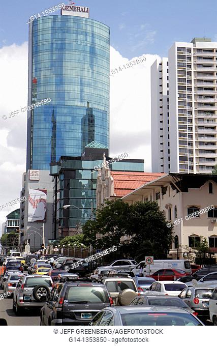 Panama, Panama City, Bella Vista, street scene, skyline, office building, skyscraper, high rise, modern, architecture, traffic, car, rush hour, bumper to bumper