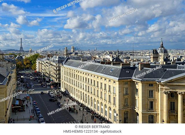 France, Paris, Latin Quarter, the Soufflot Street, the dome of the Sorbonne chapel, the Saint-Sulpice church, the Invalides and the Eiffel Tower in the...