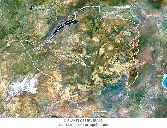 Zimbabwe, Africa, True Colour Satellite Image With Border. Satellite view of Zimbabwe with border. This image was compiled from data acquired by LANDSAT 5 & 7...
