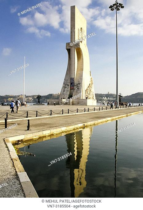 Front on view of the Padrao dos Descobrimentos in the Belem district of Lisbon, Portugal. The monument situated by the river Tagus was built to celebrate...