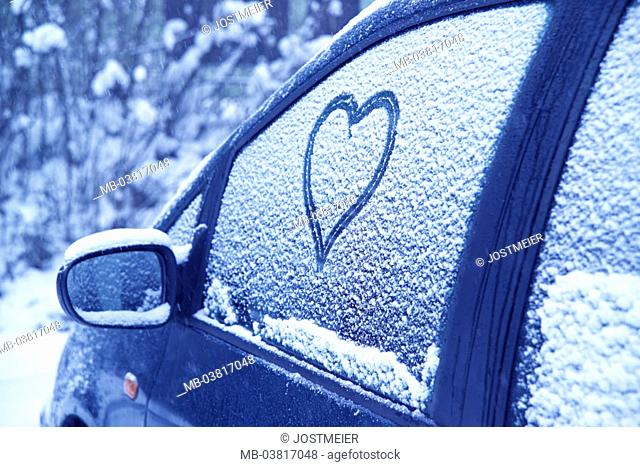 Parking place, car, snow-covered, detail, Side windows, heart, winters,  Abstellplatz, vehicle, private car, auto windows, snow,  Drawing, wintry, cold