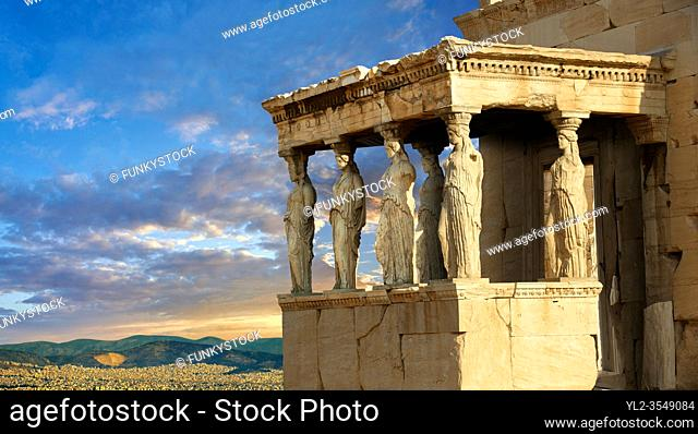 The Porch of the Caryatids. The Erechtheum, the Acropolis of Athens in Greece
