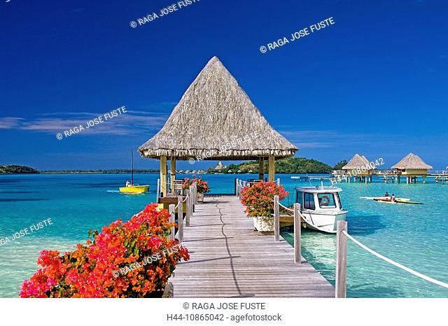 Tahiti, Society Islands, Bora Bora Island, Pier, Intercontinental Resort