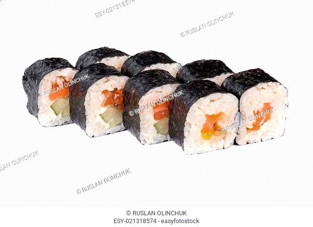 sushi fresh maki rolls with red caviar