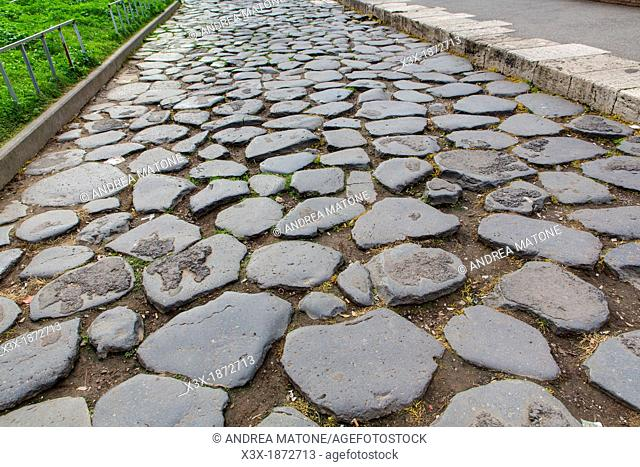Ancient roman road Via sacra Rome Italy