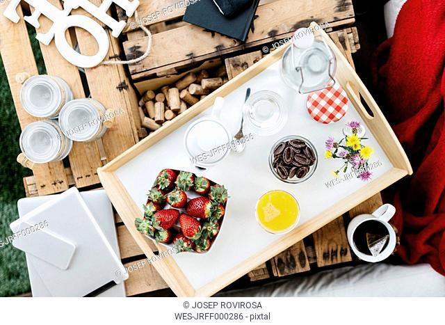 Tray with breakfast on balcony