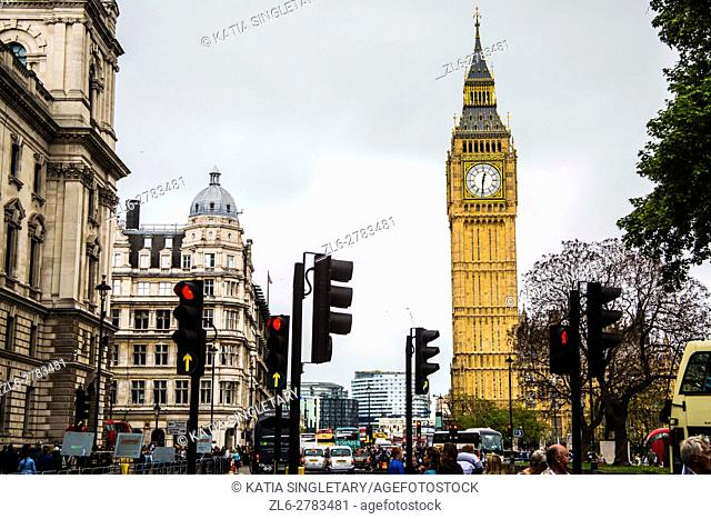 View of Big Ben and Houses of Parliament, in London, UK, England from the streets. Horizontal photo