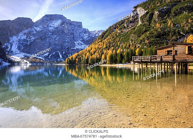Colorful woods and peaks are reflected in Lake Braies Natural Park of Fanes Sennes Bolzano Trentino Alto Adige Italy Europe