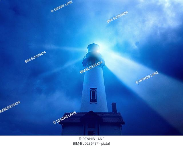 Light beaming from lighthouse