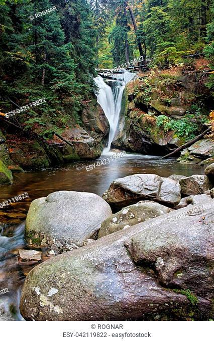 Szklarka waterfall (Polish: Wodospad Szklarki), Karkonoski National Park, Karkonosze Mountains, Poland