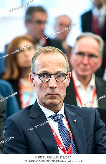 16 September 2019, Hessen, Frankfurt/Main: Jens Bergmann, Member of the Board of DB Netz AG, sits at the event. A railway node study for Frankfurt was presented...
