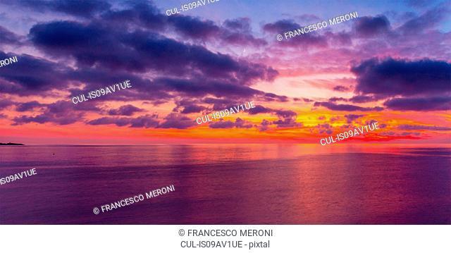 Sunset seascape, Camogli, Liguria, Italy