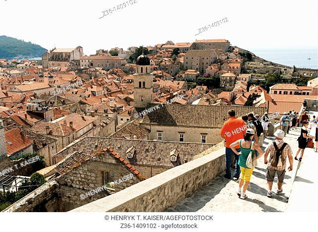 Dubrovnik, tourists on city Wall, UNESCO World Heritage Site, Croatia