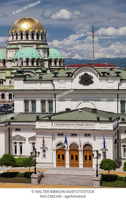 Bulgaria, Sofia, Ploshtad Narodno Sabranie Square, National Assembly building, and Alexander Nevski Cathedral, elevated view