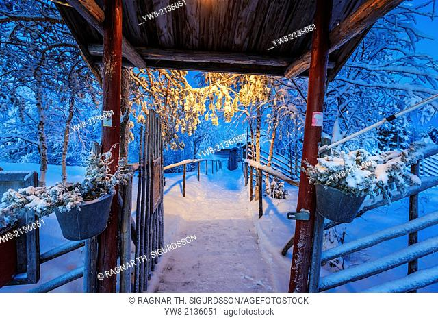 Walking path close to the Ice Hotel, Jukkasjarvi, Lapland, Sweden. Extreme cold temperatures