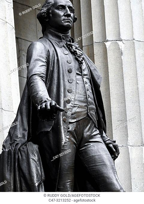 Large bronze sculpture of George Washington by John Quincy Adams Ward, located on the front steps of Federal Hall National Memorial