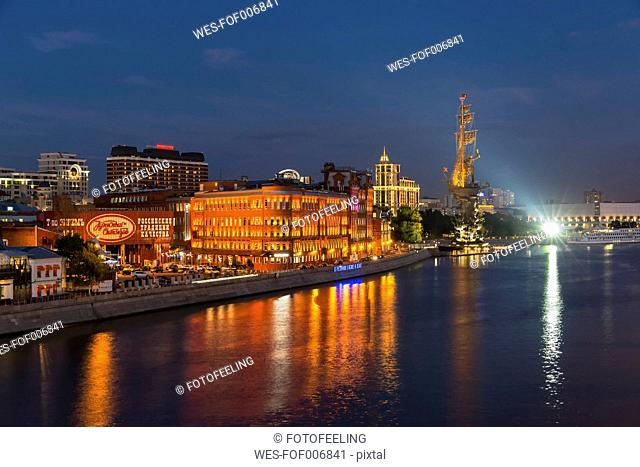 Russia, Moscow, Digital October building, Moskva river and Peter the Great Statue at night