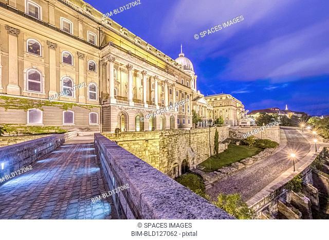 Royal Palace illuminated at dusk, Budapest, Hungary