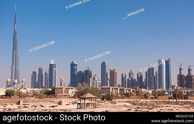 DUBAI UAE 31 JANUARY 2017 Panorama Dubai city. City centre, skyscrapers Sheikh Zayed Road. united arab emirates