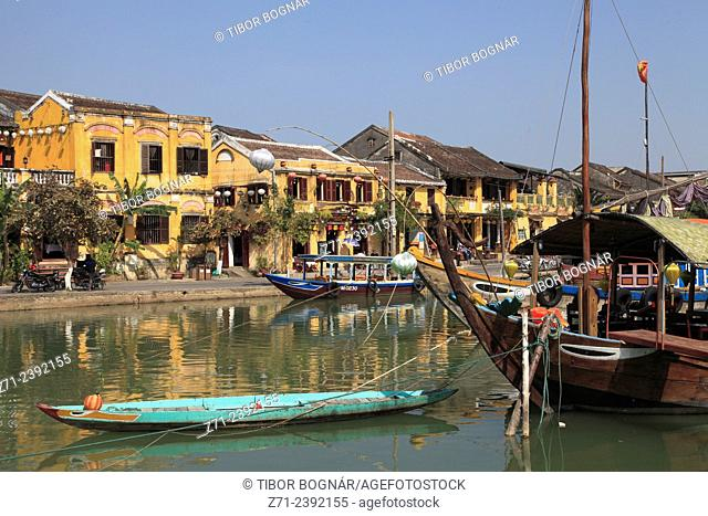 Vietnam, Hoi An, Thu Bon River, boats, general view,