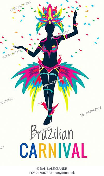 Rio de Janeiro, Brazil - February 9, 2016: Beautiful Brazilian woman of African descent wearing colourful costume and smiling during Carnaval 2016 street parade...