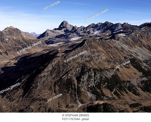 Scenic view rugged brown mountain range, Ischgl, Tyrol, Austria